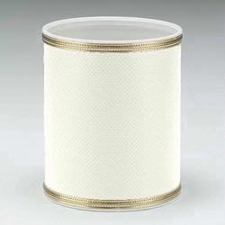 1391-WG Redmon Budget Series Round Vinyl Wastebasket - White with Gold Trim