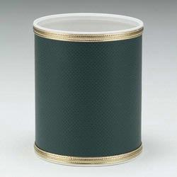 1391-GG Redmon Budget Series Round Vinyl Wastebasket - Green with Gold Trim