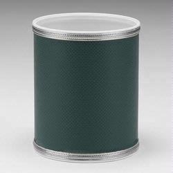 Redmon 1391-GS Budget Series Round Vinyl Wastebasket - Green with Silver Trim