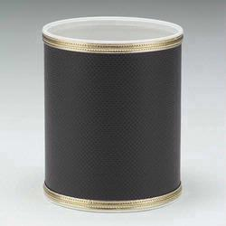 1391-BG Redmon Budget Series Round Vinyl Wastebasket - Black with Gold Trim