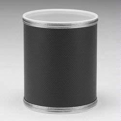 1391-BS Redmon Budget Series Round Vinyl Wastebasket - Black with Silver Trim