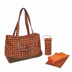 Kalencom 280 Weekender Diaper Bag - Heavenly Dots - Chocolate/ Orange