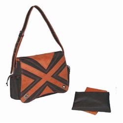 Kalencom 282 Hannah's Messenger Diaper Bag - Chocolate/Orange