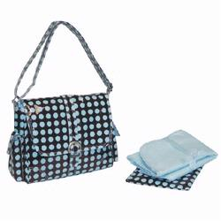 Kalencom 2959 Midi Coated Buckle Diaper Bag - Heavenly Dots- Chocolate - Blue