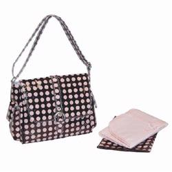 Kalencom 2959 Midi Coated Buckle Diaper Bag - Heavenly Dots- Chocolate - Pink