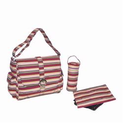 Kalencom 2960 Canvas Buckle Diaper Bag - Canvas Chameleon Stripes - Pink