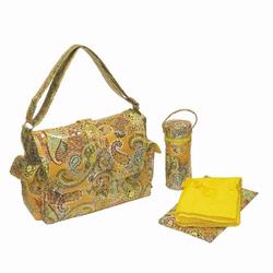 Kalencom 2960 Laminated Buckle Diaper Bag - Florentine Paisley - Yellow