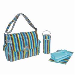 Kalencom 2960 Laminated Buckle Diaper Bag - Monkey Stripes - Blue