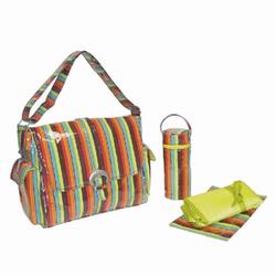 Kalencom 2960 Laminated Buckle Diaper Bag - Monkey Stripes - Orange