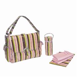 Kalencom 2960 Laminated Buckle Diaper Bag - Monkey Stripes - Pink