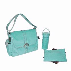 Kalencom 2960 Laminated Buckle Diaper Bag - Aqua Corduroy