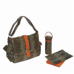 Kalencom 2960 Laminated Buckle Diaper Bag - Leopard - Orange