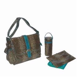 Kalencom 2960 Laminated Buckle Diaper Bag - Leopard - Teal