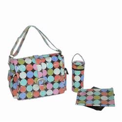 Kalencom 2960 Laminated Buckle Diaper Bag - Disco Dots Cocoa