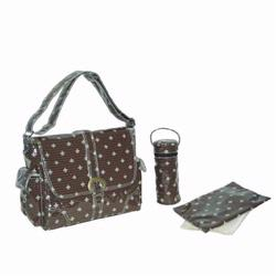 Kalencom 2960 Laminated Buckle Diaper Bag - Fleur de Lis - Chocolate/Cream