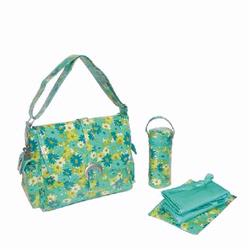 Kalencom 2960 Laminated Buckle Diaper Bag - Hoodies Garden - Lime/ Teal