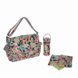 Kalencom 2960 Laminated Buckle Diaper Bag - Multi Paisley - Watermelon