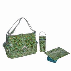 Kalencom 2960 Laminated Buckle Diaper Bag - Posey Paisley - Chocolate/ Avocado