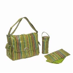 Kalencom 2960 Laminated Buckle Diaper Bag - Pretty Stripe - Pistachio