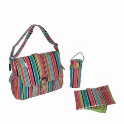 Kalencom 2960 Laminated Buckle Diaper Bag - Pretty Stripe - Watermelon