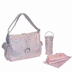Kalencom 2960 A Step Above Laminated Buckle Diaper Bag - Soap Bubbles - Pink