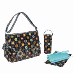 Kalencom 2961 Coated Double Buckle Diaper Bag - Doodle Bugs - Chocolate