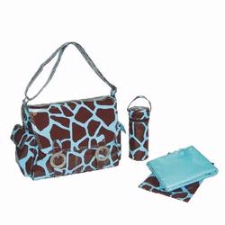kalencom 2961 coated double buckle diaper bag giraffe chocolate blue free shipping. Black Bedroom Furniture Sets. Home Design Ideas