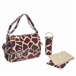 kalencom 2961 coated double buckle diaper bag giraffe chocolate cream free shipping. Black Bedroom Furniture Sets. Home Design Ideas