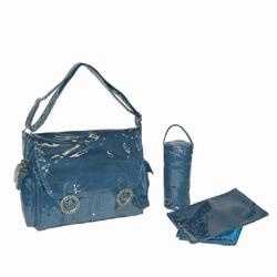 Kalencom 2961 Coated Double Buckle Diaper Bag - Corduroy Blue