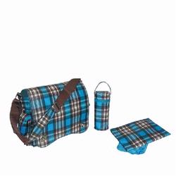 Kalencom 2962 Sam's Messenger Diaper Bag - Blue Plaid