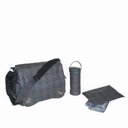 Kalencom 2962 Sam's Messenger Diaper Bag - Gray Plaid