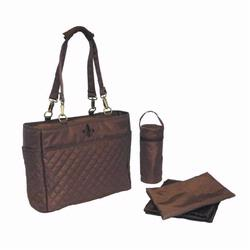 Kalencom 2963 N'Orleans Diaper Bag Tote Quilted Chocolate/ Chocolate Stitching