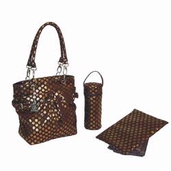 Kalencom 2967 Midi Metallic Ultimate Tote Diaper Bag - Bronze Dot