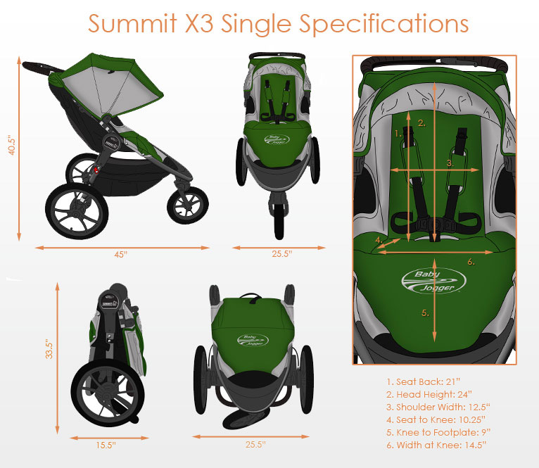 Baby Jogger Summit X3 Single Jogging Strollers Free