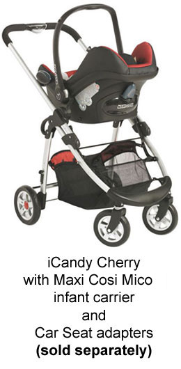 iCandy Cherrywith Maxi Cosi Mico infant carrier and Car Seat adapters (sold separately)