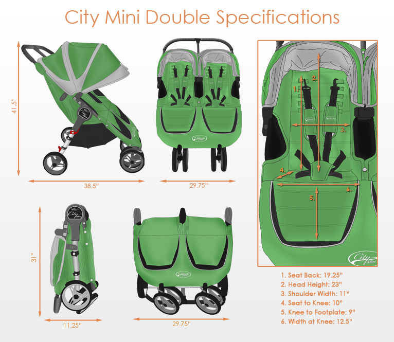 Baby Jogger City Mini Double Stroller Free Shipping