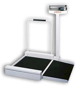 The Detecto 495 mechanical wheelchair scale provides the economical answer to weighing patients in wheelchairs.