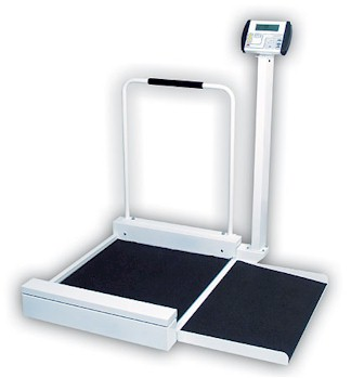 "The Detecto 6495 ""Floor Hugger"" wheelchair scale offers the speed and increased accuracy that only electronic digital weighing can provide - weight in pounds or kilograms at the press of a button. The weight display on the 6495 wheelchair scale is mounted on tilt mount which permits the indicator to be angled for easy viewing."