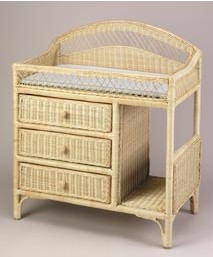 J Mason I2864 Wicker Changing Table in Natural